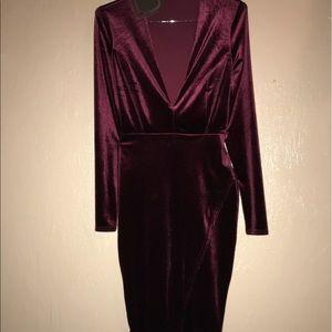 Velvet Burgundy Midi Dress